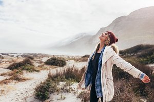 Woman happily breathing