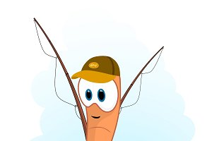 Cartoon Worm fisherman.