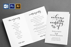 Wedding Program folded Wpc362