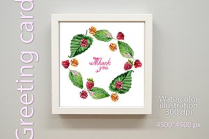 Watercolor greeting card - Thank you