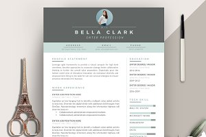 Resume Template 3 pages | Aqua Grey