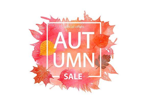 Watercolor Autumn Sale Banner