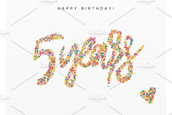 Five Years Lettering Sign From Confetti