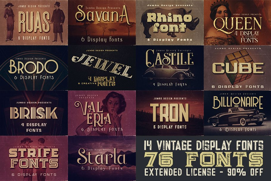 14 Vintage Display Fonts - 76 Fonts