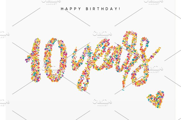 Ten Years Lettering Sign From Confetti