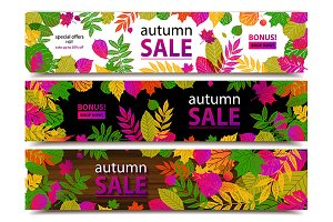 Autumn sale banners. Big set