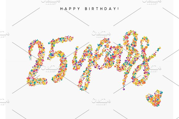 Twenty-five Years Lettering Sign From Confetti