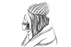 Pretty girl with long hair in the hat with coffee in her hands. Young woman. Sketch style illustration.