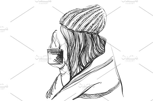 Pretty Girl With Long Hair In The Hat With Coffee In Her Hands Young Woman Sketch Style Illustration