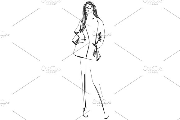 Beautiful Young Girl Model For Design Fashion Style Beauty Graphic Sketch Drawing