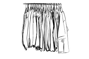 Wardrobe sketch. Clothes on the hangers.
