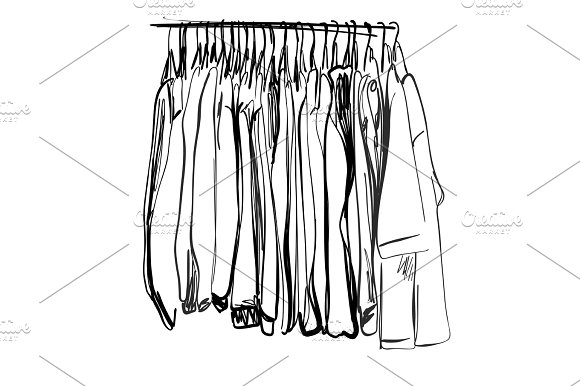 Wardrobe Sketch Clothes On The Hangers