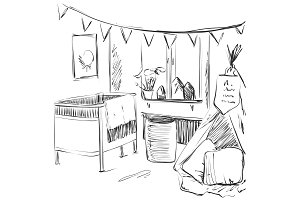 Children room. Furniture sketch. Baby bed