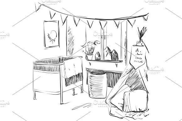 Children Room Furniture Sketch Baby Bed
