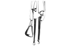 Abstract sketching outline of graceful women legs. Fashion models