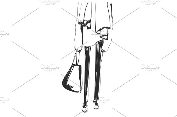 Abstract Sketching Outline Of Graceful Women Legs Fashion Models