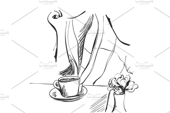 Fashion Illustration Of Girl With Cup Of Tea