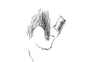 Sketch of woman reading book,