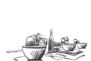 Hand Drawn wares sketch. Romantic dinner for two.