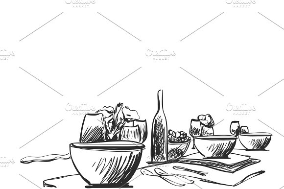 Hand Drawn Wares Sketch Romantic Dinner For Two