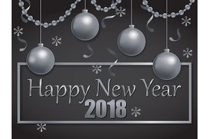 happy new year 2018 silver and black