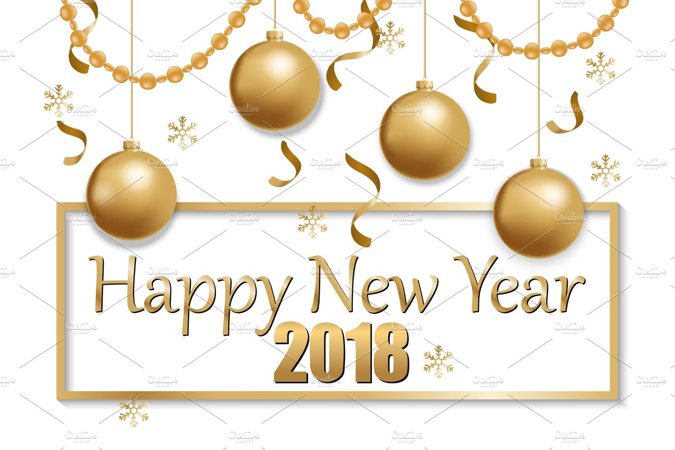 happy new year 2018 gold and black ~ Graphic Objects ~ Creative Market