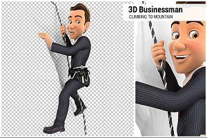 3D Businessman Climbing Mountain