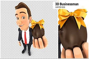 3D Businessman Holding Easter Egg