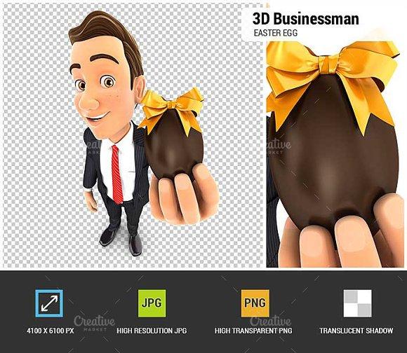 3D Businessman Holding Easter Egg