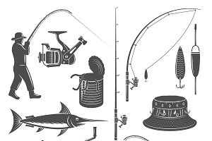 Fishing Decorative Graphic Icons Set