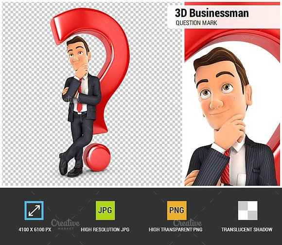 3D Businessman Question Mark