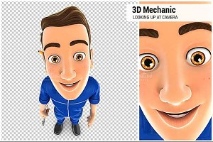 3D Mechanic Looking Up at Camera