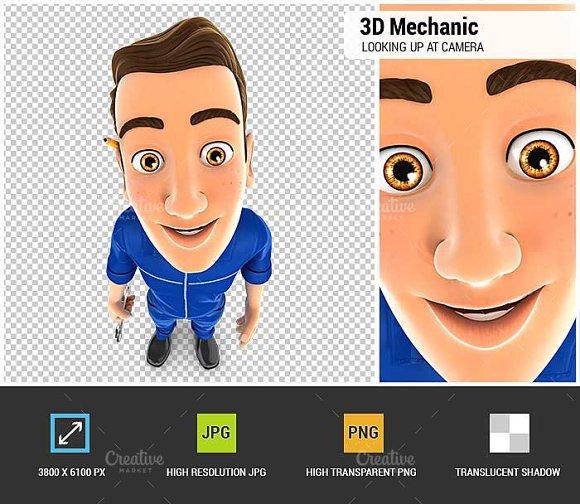 3D Mechanic Looking Up At Camera