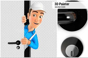 3D Painter Peeking Behind a Door