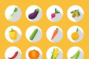 Vegetables Colored Icons Flat Set