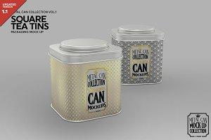 Square Tea Tins  Packaging Mock Up