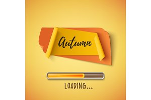 Autumn abstract paper banner with loading bar.