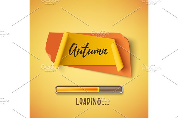 Autumn Abstract Paper Banner With Loading Bar
