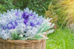 artificial flowers in garden