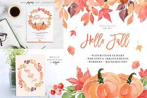 Fall Wreaths & Autumn Leaves Clipart