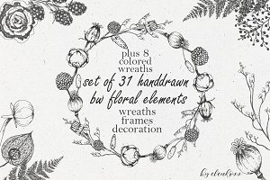 Handdrawn graphic floral wreaths