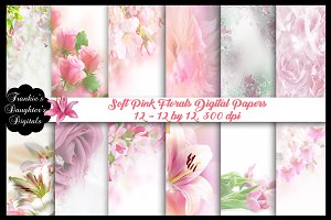 Soft Pink Floral Papers SALE $3