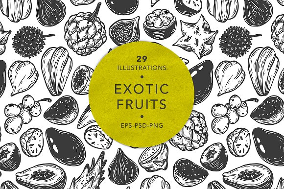 Exotic Fruits Illustrations