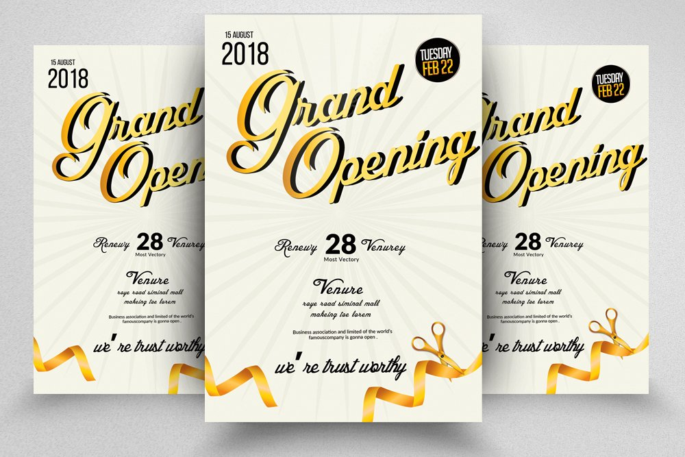 Golden Grand Opening Flyer Template Flyer Templates Creative Market