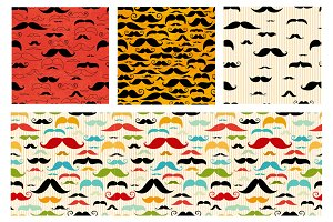 seamless patterns with moustaches