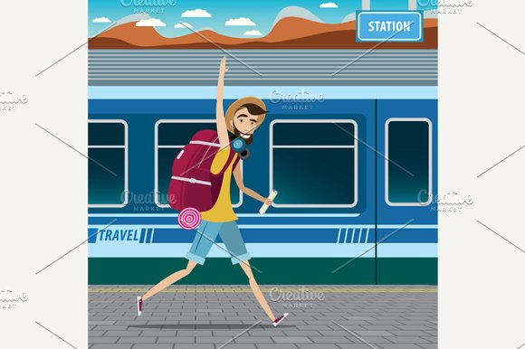 Backpacker At The Railway Station