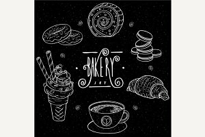 Bakery set in handmade chalk board style