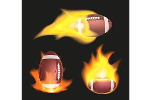 Set of american football or rugby balls flaming on a black background. Sport equipment with fire.