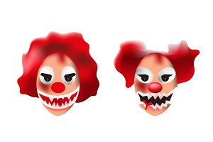 Set of scary clown masks on white background