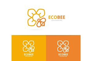 Vector of flower and bee logo combination. Unique floral and organiclogotype design template.